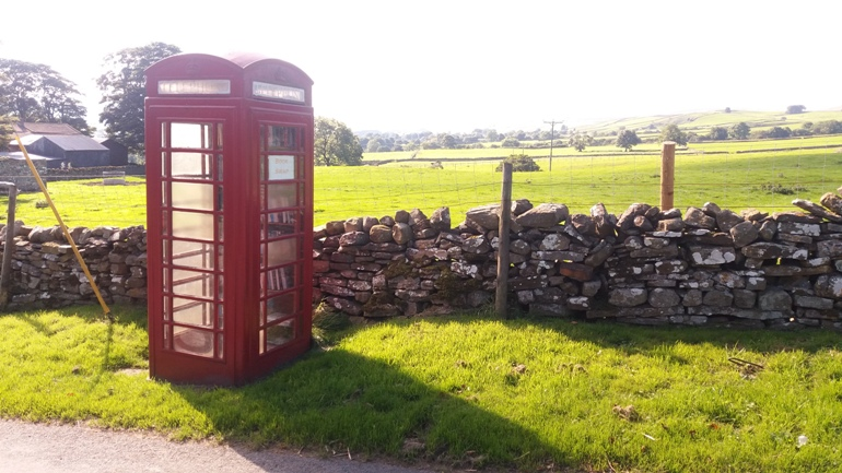 Traditional phonebox used as a book swap on Moor Road